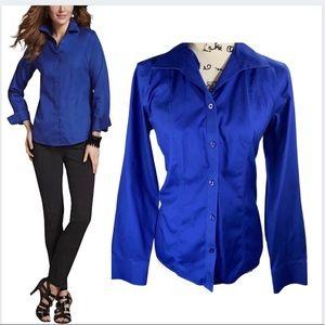 Chico's blue button womens shirt EUC
